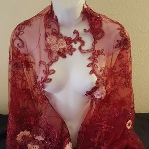 Brand New Merlot Embroidered Lace Shrug Top